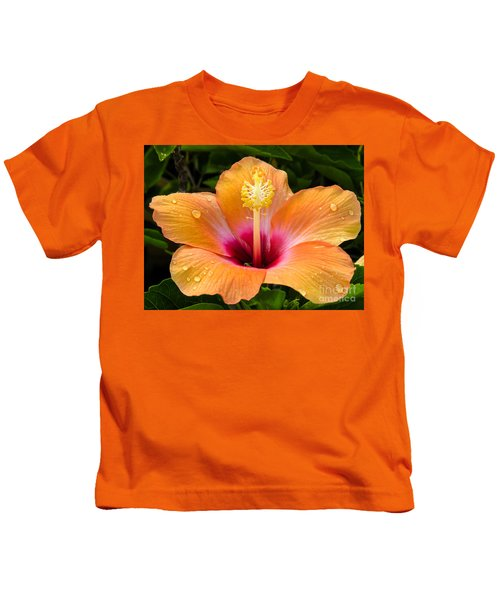 Orange Hibiscus And Dew Drops Kids T-Shirt
