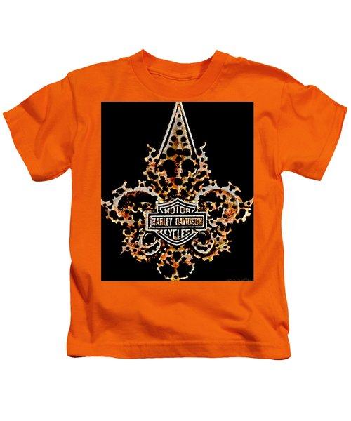 Perforated Fleurs De Lys With Harley Davidson Logo Kids T-Shirt