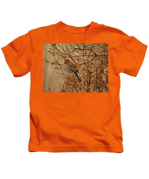 Pine Grosbeak Kids T-Shirt