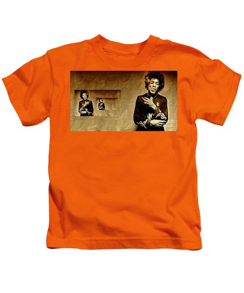 Reflecting On Jimi Hendrix  Kids T-Shirt