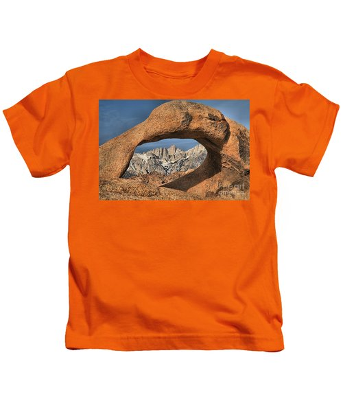 Rugged Peaks Through Mobius Kids T-Shirt