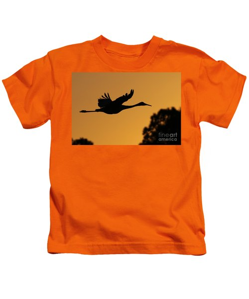 Sandhill Crane In Flight Kids T-Shirt