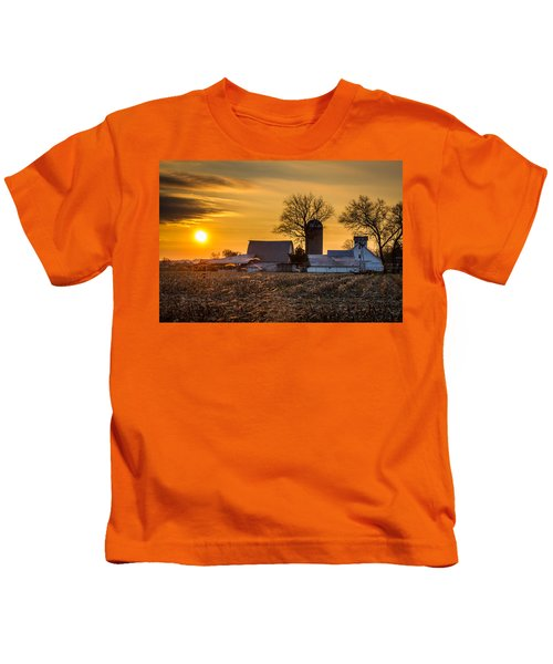 Sun Rise Over The Farm Kids T-Shirt