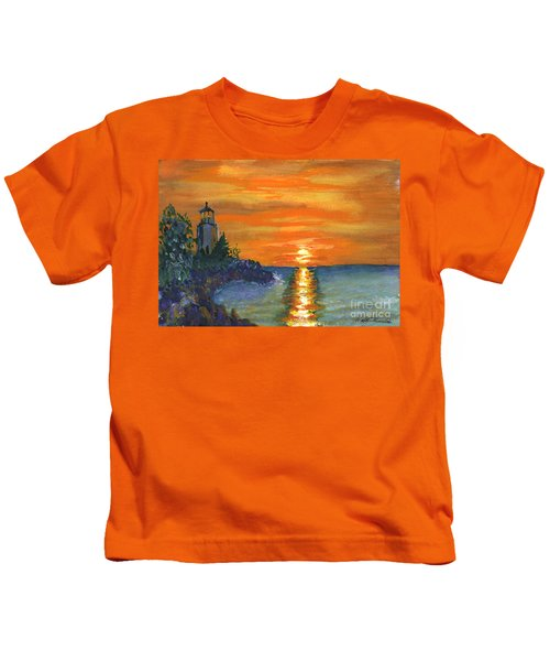 Sunset At The Lighthouse Kids T-Shirt