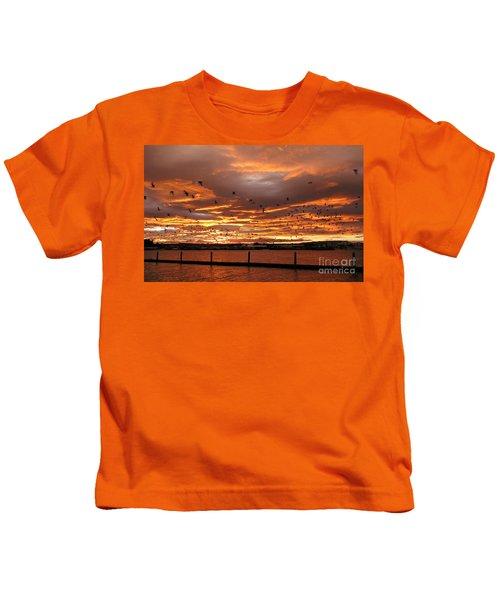 Sunset In Tauranga New Zealand Kids T-Shirt
