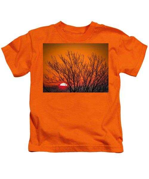 Tree Silhouetted By Irish Sunrise Kids T-Shirt