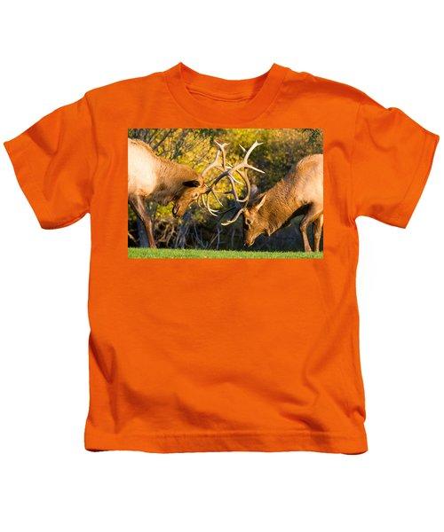 Two Elk Bulls Sparring Kids T-Shirt
