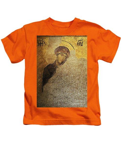 Virgin Mary-detail Of Deesis Mosaic  Hagia Sophia-day Of Judgement Kids T-Shirt
