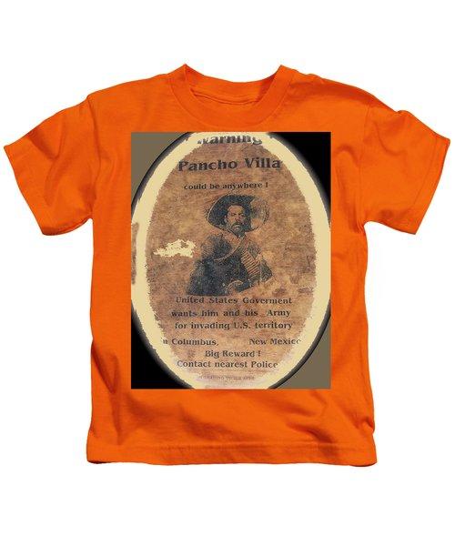 Wanted Poster For Pancho Villa After Columbus New Mexico Raid  Kids T-Shirt