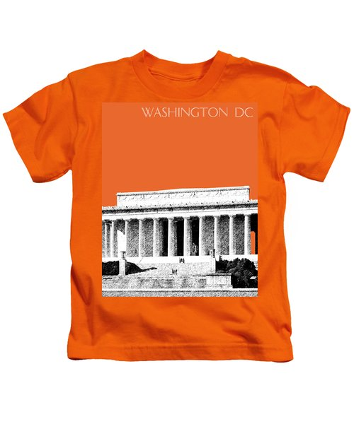 Washington Dc Skyline Lincoln Memorial - Coral Kids T-Shirt
