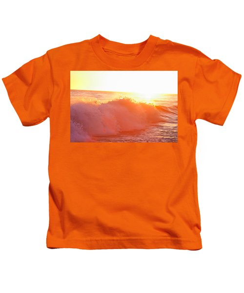 Waves In Sunset Kids T-Shirt