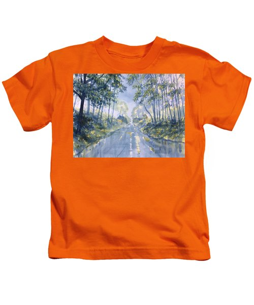Wet Road In Woldgate Kids T-Shirt