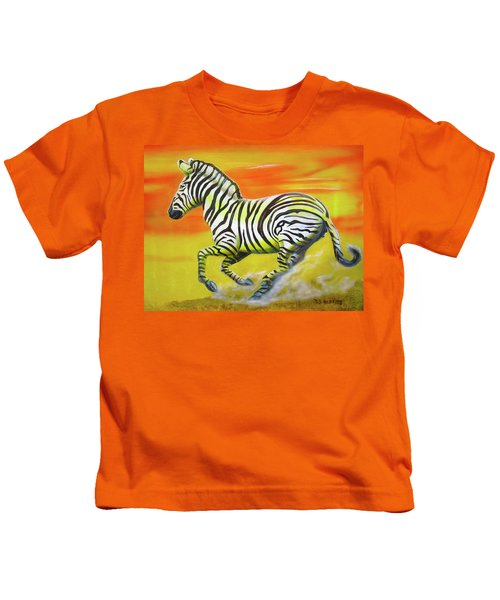 Zebra Kicking Up Dust Kids T-Shirt