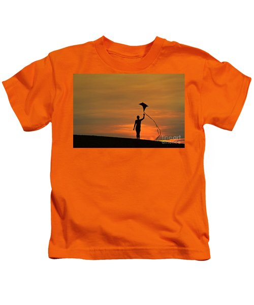 Child Flying A Kite Kids T-Shirt