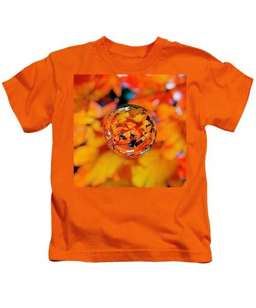 Marbled Orange Maple Leaves Kids T-Shirt