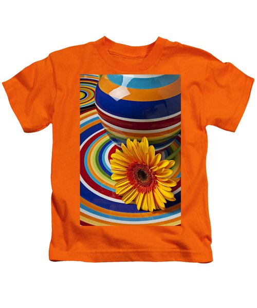 Orange Daisy With Plate And Vase Kids T-Shirt