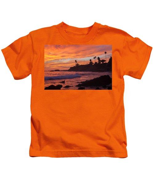 Sunset Off Laguna Beach Kids T-Shirt