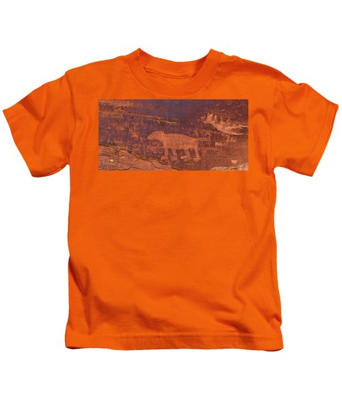 Ancient Native American Petroglyphs On A Canyon Wall Near Moab. Kids T-Shirt