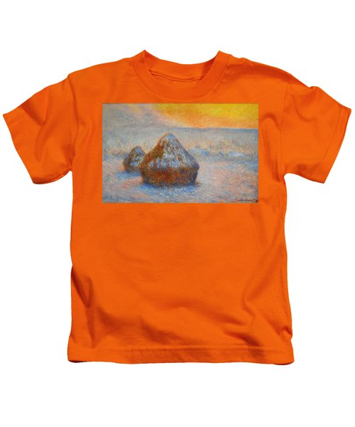 Grainstacks At Sunset, Snow Effect, 1891 Kids T-Shirt
