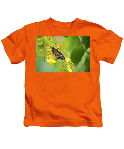Monarch Butterfly On Yellow Orchids Kids T-Shirt