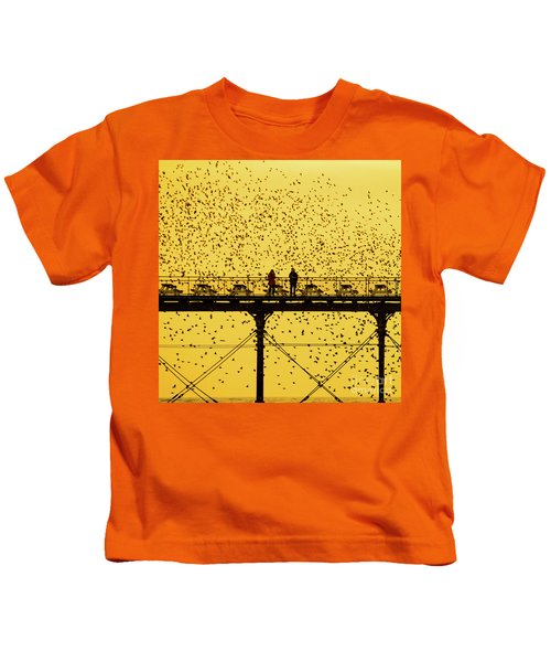 People On The Pier Sunset And Starlings In Aberystwyth Wales Kids T-Shirt
