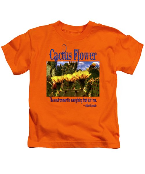 Prickly Pear Cactus Flowers Kids T-Shirt by Roger Passman