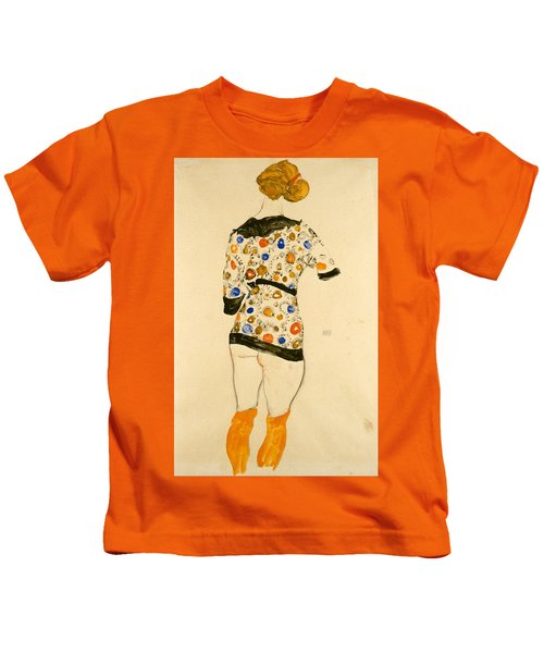 Standing Woman In A Patterned Blouse Kids T-Shirt