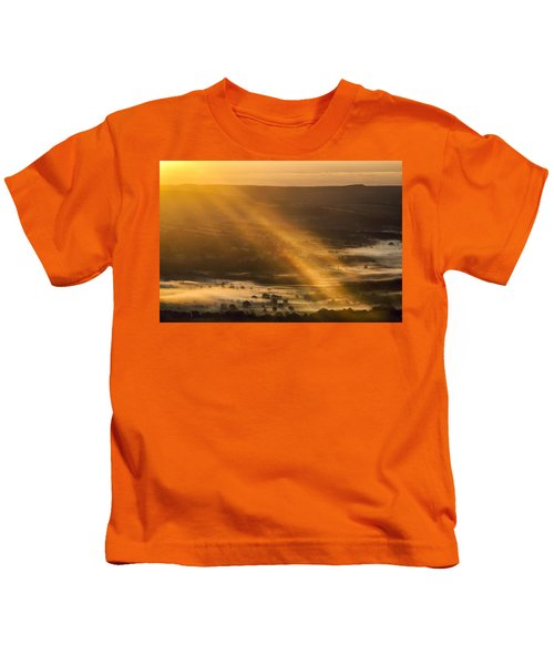 View Over The Hope Valley From Mam Tor At Dawn Kids T-Shirt