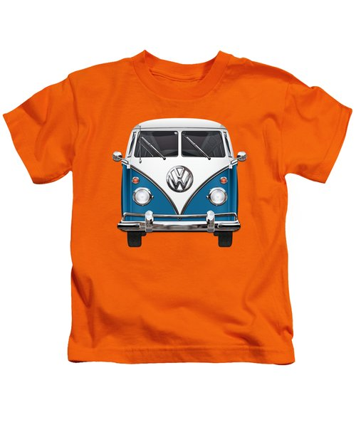 Volkswagen Type 2 - Blue And White Volkswagen T 1 Samba Bus Over Orange Canvas  Kids T-Shirt
