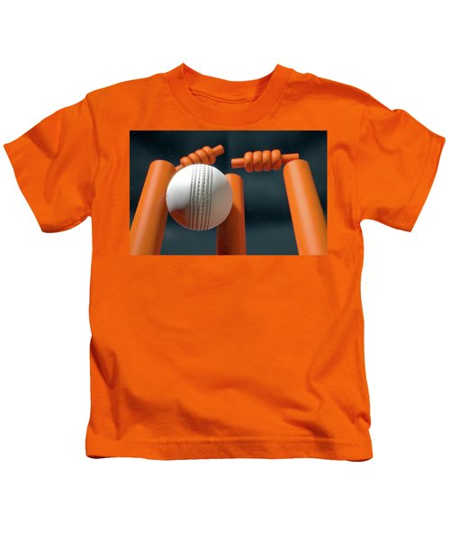 Cricket Ball Hitting Wickets Kids T-Shirt by Allan Swart