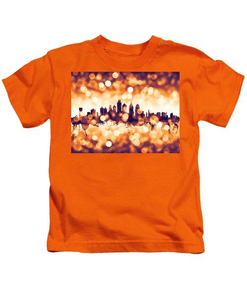 Philadelphia Pennsylvania Skyline Kids T-Shirt by Michael Tompsett