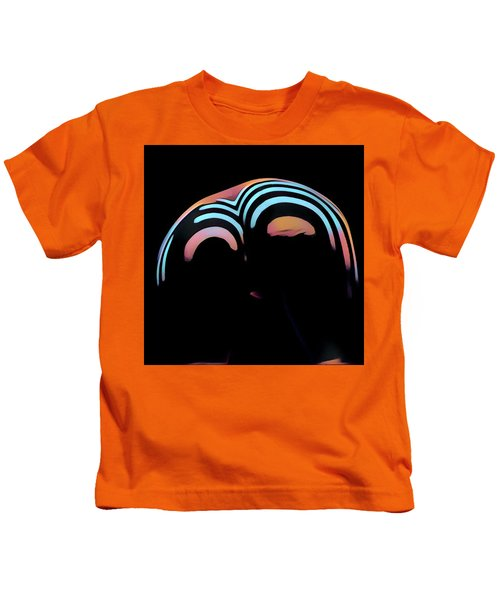 2696s-ak Zebra Striped Woman Rear View In Composition Style Kids T-Shirt