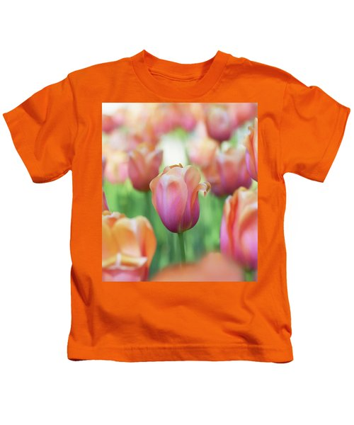 A Bed Of Tulips Is A Feast For The Eyes. Kids T-Shirt