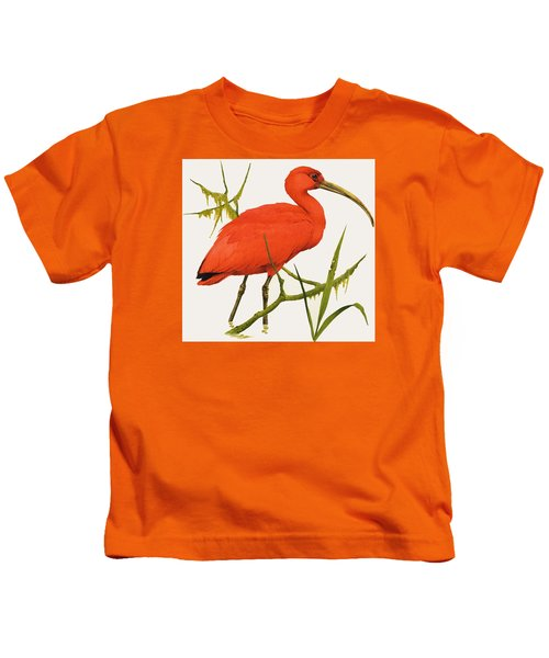 A Scarlet Ibis From South America Kids T-Shirt by Kenneth Lilly