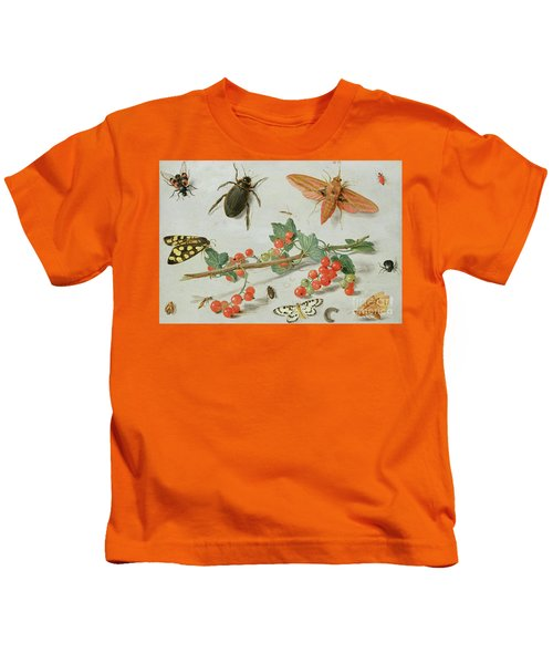 A Sprig Of Redcurrants With An Elephant Hawk Moth, A Magpie Moth And Other Insects, 1657 Kids T-Shirt