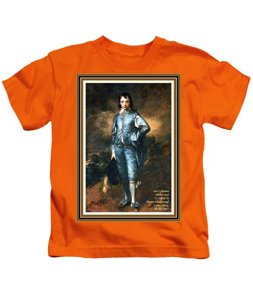 A Tribute To Thomas Gainsborough Catus 1 No.4 - The Blue Boy L A With Decorative Ornate Printed Frme Kids T-Shirt