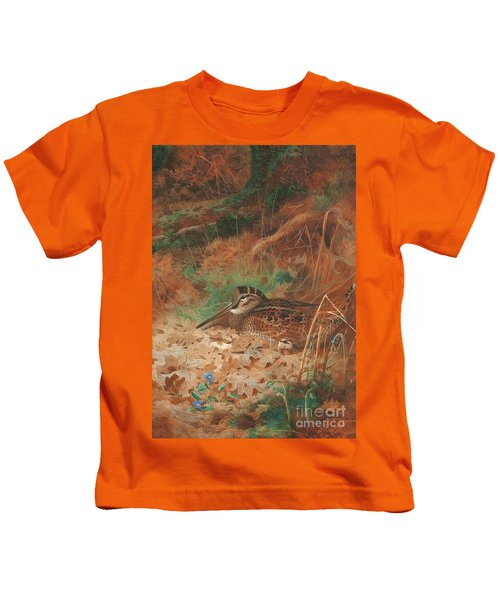 A Woodcock And Chick In Undergrowth Kids T-Shirt by Archibald Thorburn