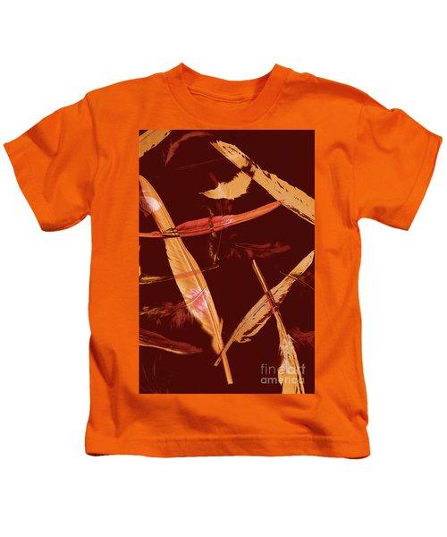 Abstract Feathers Falling On Brown Background Kids T-Shirt
