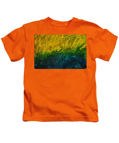 Abstract Yellow, Green With Dark Blue.   Kids T-Shirt