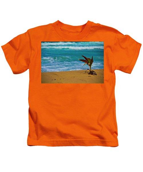 Alone On The Beach Kids T-Shirt