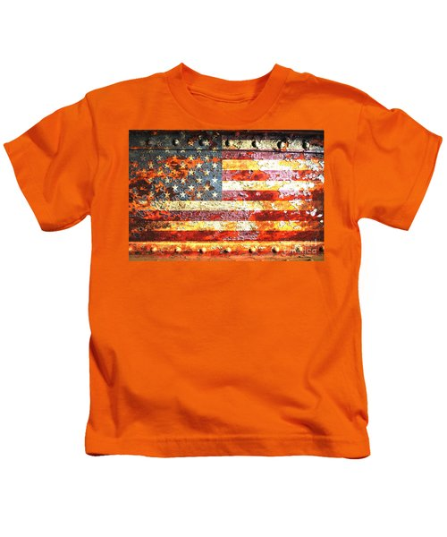 American Flag On Rusted Riveted Metal Door Kids T-Shirt