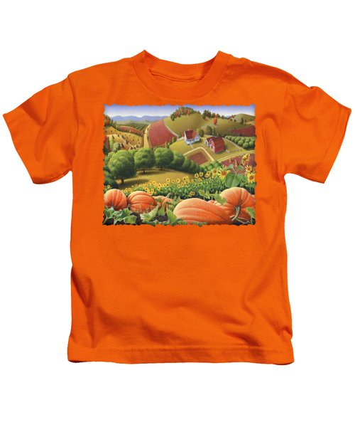 Farm Landscape - Autumn Rural Country Pumpkins Folk Art - Appalachian Americana - Fall Pumpkin Patch Kids T-Shirt by Walt Curlee