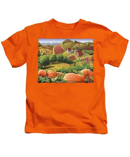 Farm Landscape - Autumn Rural Country Pumpkins Folk Art - Appalachian Americana - Fall Pumpkin Patch Kids T-Shirt