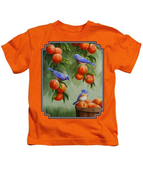 Bird Painting - Bluebirds And Peaches Kids T-Shirt