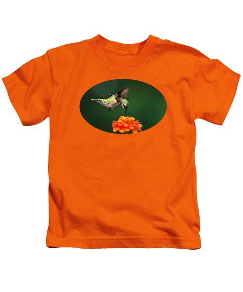 Ruby-throated Hummingbird Feeding On Orange Zinnia Flower Kids T-Shirt by Christina Rollo