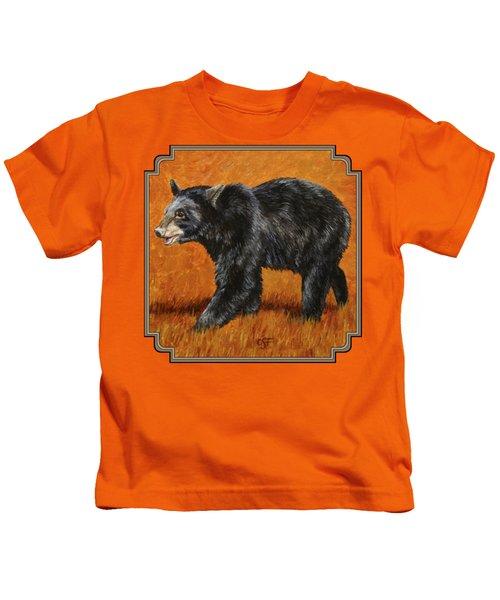 Autumn Black Bear Kids T-Shirt by Crista Forest