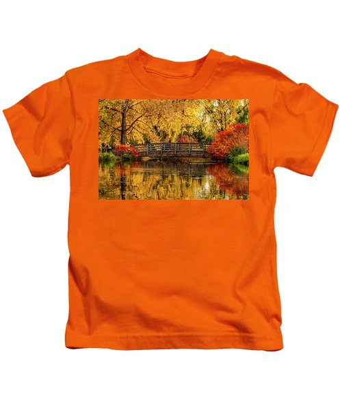Autumn Color By The Pond Kids T-Shirt