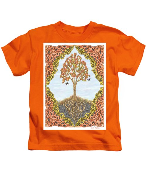 Autumn Tree With Knotted Roots And Knotted Border Kids T-Shirt