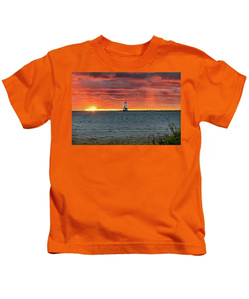 Awesome Sunset With Lighthouse  Kids T-Shirt