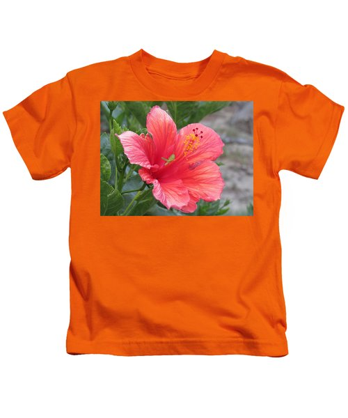 Kids T-Shirt featuring the photograph Baby Grasshopper On Hibiscus Flower by Nancy Nale